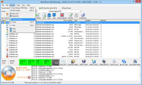 Download Bunr4Free - 100% compatible with DVDRAM GSA-E50L
